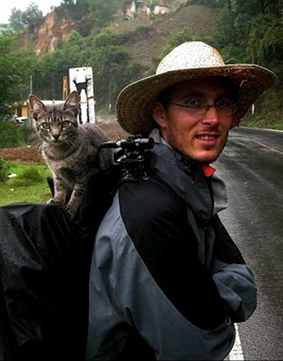Backpacking Cat Touring the World with French Couple