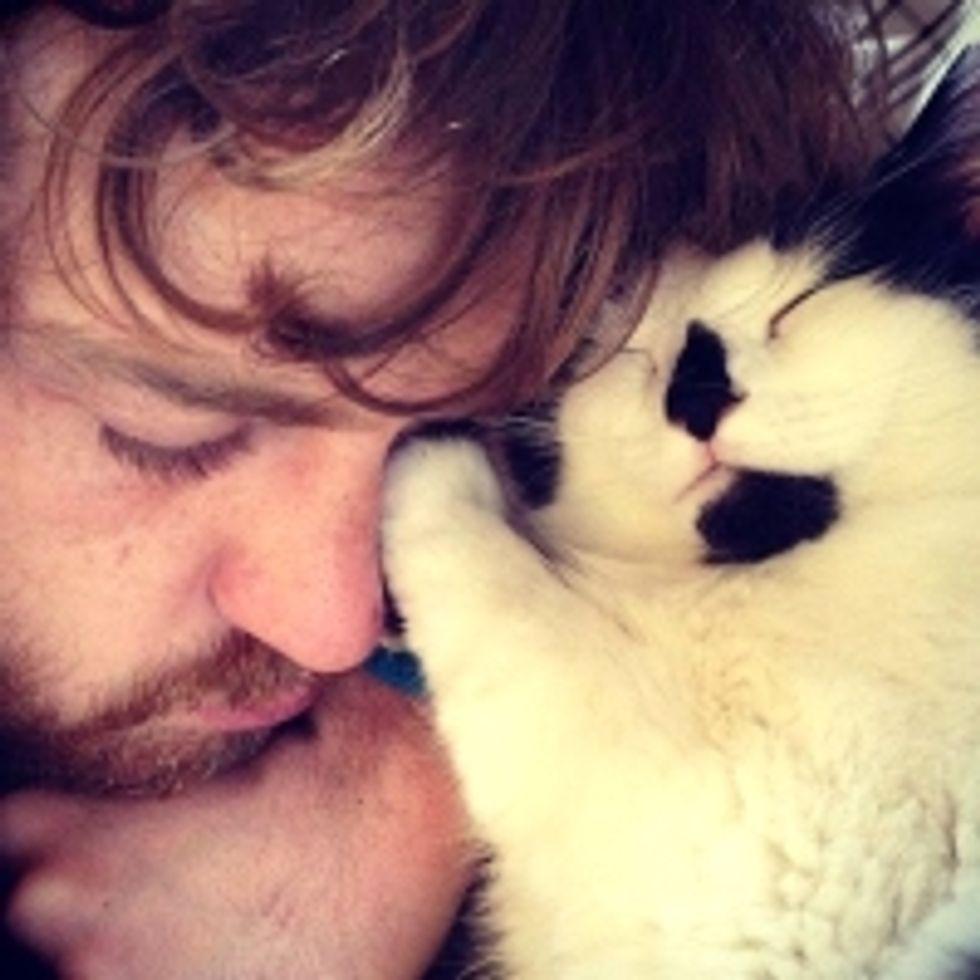Kitty Cuddles Her Dad to Sleep
