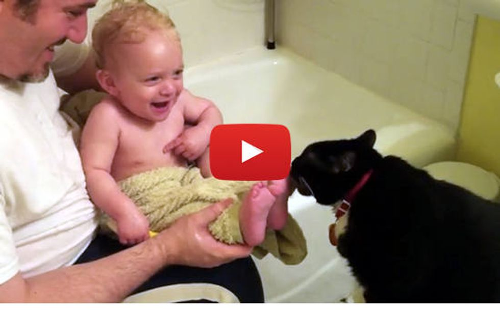Cat Licking Baby Toes