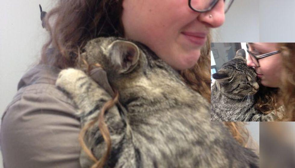 Shelter Cat Gives Volunteer the Biggest Hug and Won't Let Go...