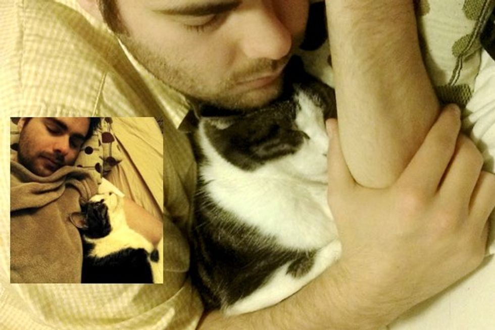 Cat Finds Human Dad and Naps with Him No Matter Where He Falls Asleep