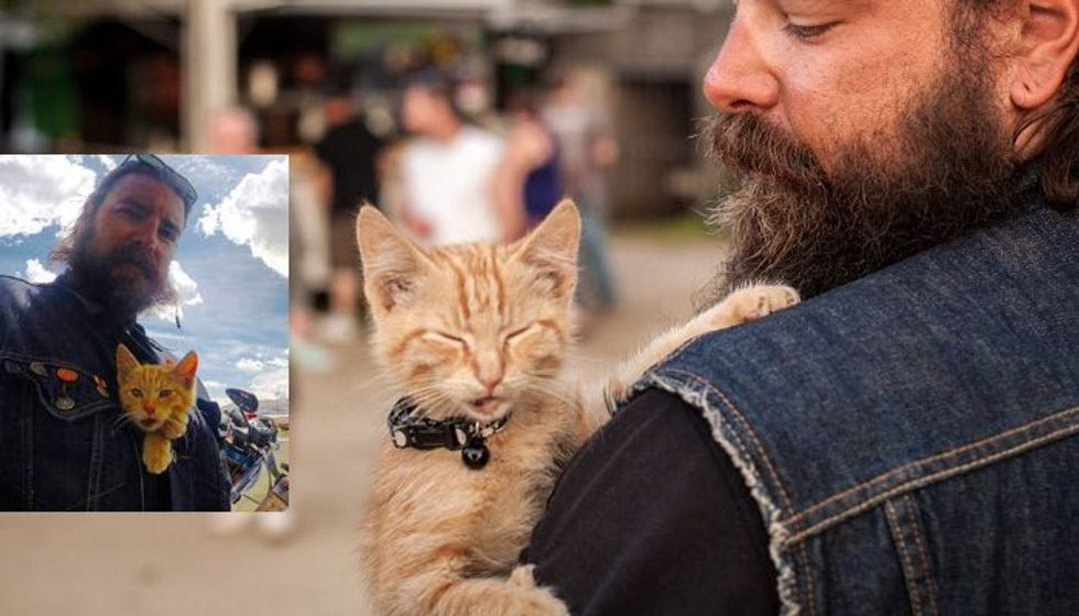 Biker Saves Injured Kitten and Continues His Trip While Caring for Him