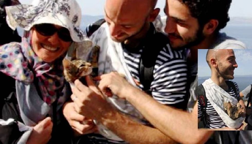 Syrian Refugees Arrive to Safety with Their Beloved Kitten