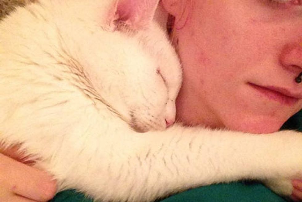 8 Year Old Shelter Cat Cuddles His Adopter