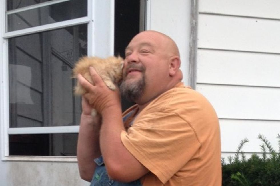 'Big Tough Farmer' Cuddling With Beloved Kitten
