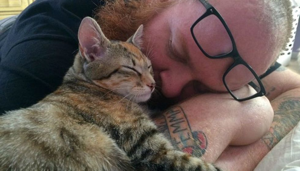 Man Saves Warehouse Kitten and Becomes Her Forever Cuddle Buddy