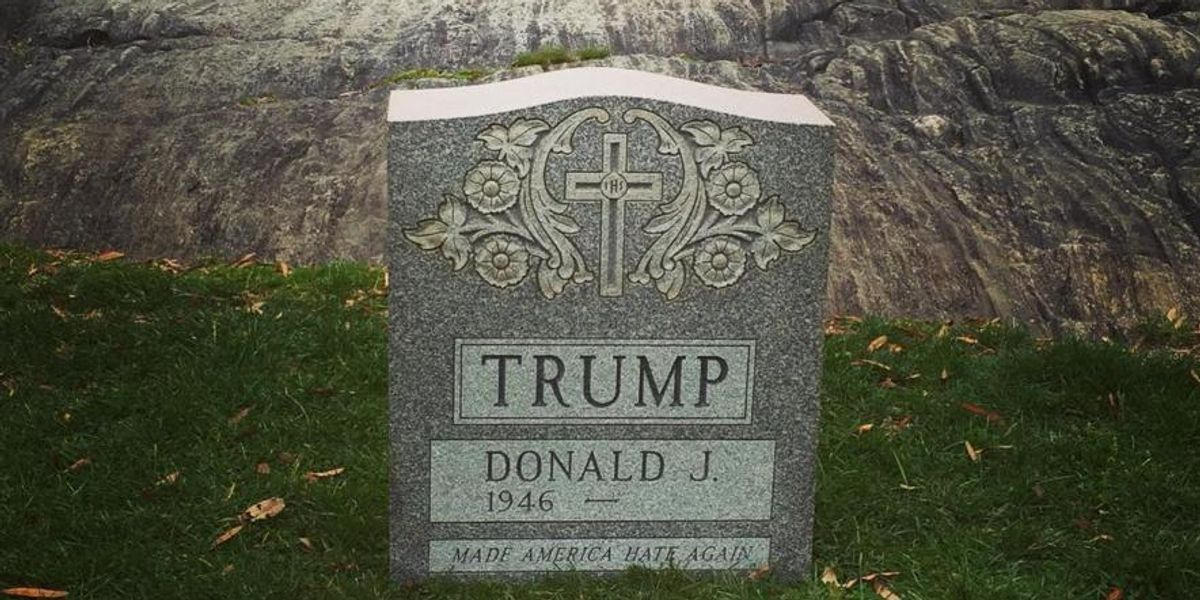 Someone Erected A Tombstone For Donald Trump In Central Park