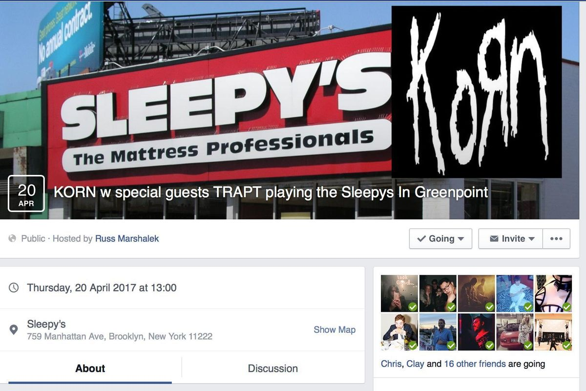 See Korn At Sleepys: The Wonderfully Weird World of Fake Facebook Events