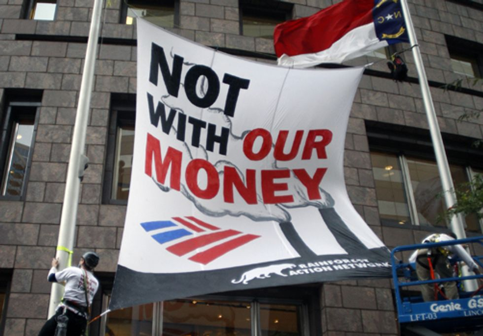 Eight Arrested at Bank of America Headquarters Protesting Mountaintop Removal Coal Mining
