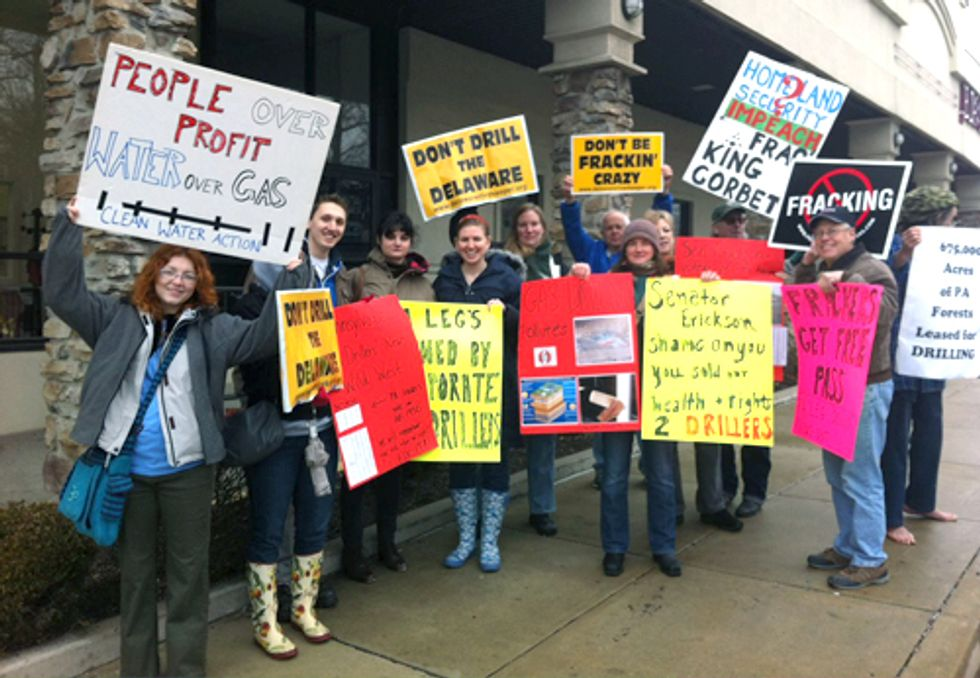 Overturning of Local Zoning Protections for Fracking Leads to Protests at Senators' Offices