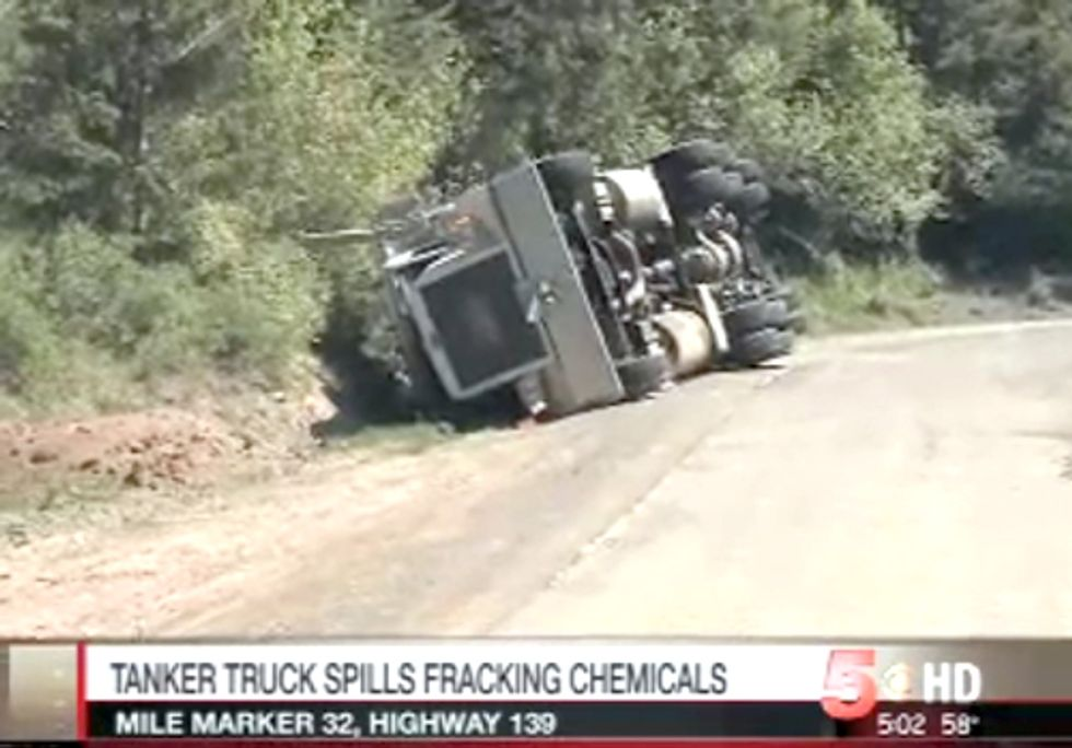 Tanker Truck Accident Releases Fracking Chemicals into Stream