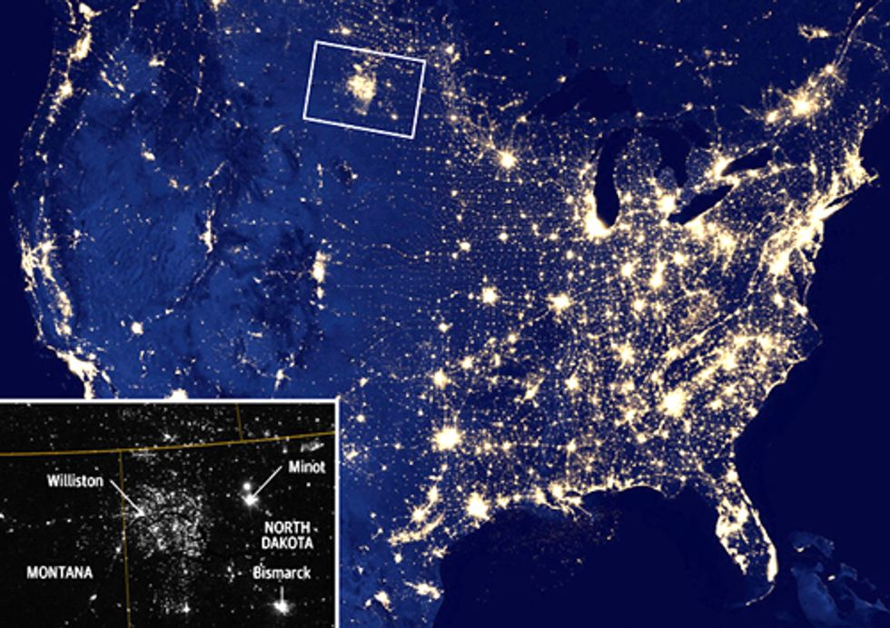 U.S. Gas Flaring Visible from Space as Fracking Industry Booms
