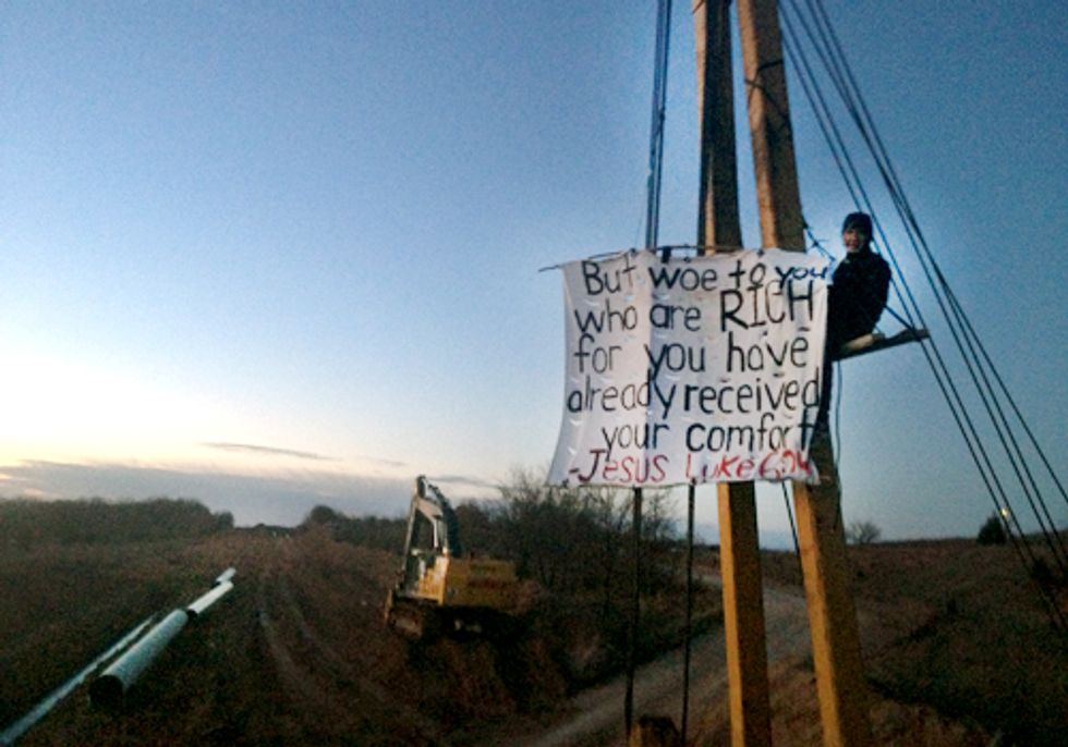 BREAKING: Lifelong Oklahoman Youth Pastor Locked to Machinery in Protest of Keystone XL