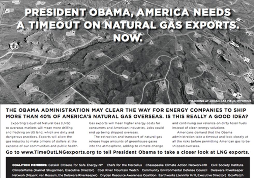 Ad in The New York Times Calls for a 'Time Out' on LNG Exports