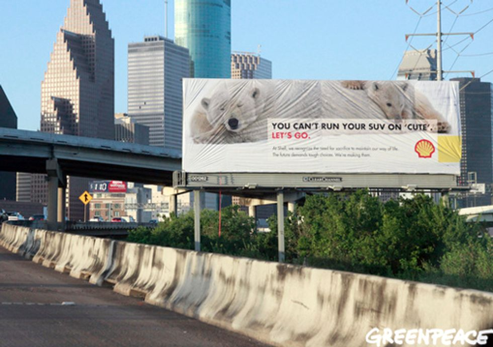 Greenpeace Launches 'Arctic Ready' Campaign outside Shell Headquarters