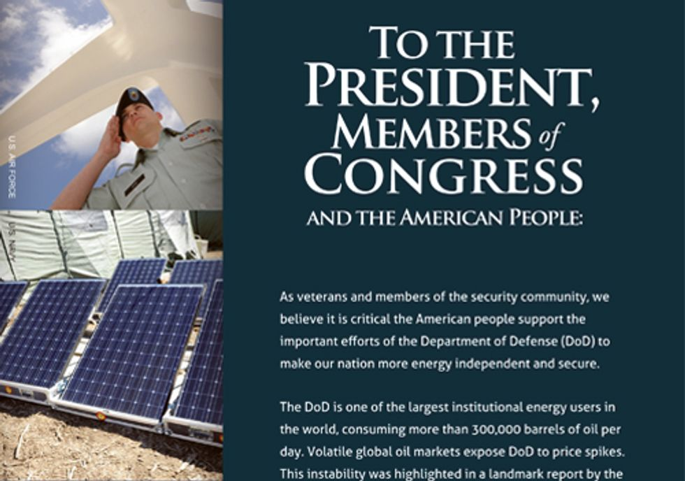 Veterans Tell Department of Defense to Reduce Fossil Fuel Dependence and Develop Renewables
