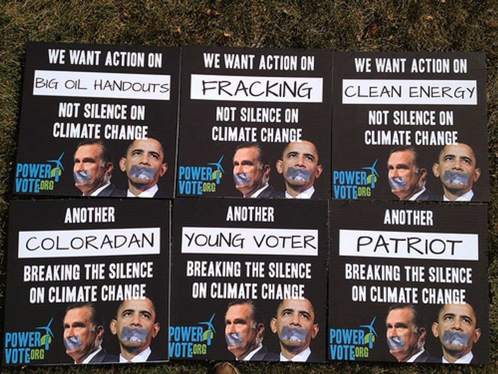 Dozens Rally in Denver Demanding Presidential Candidates Address Climate Change