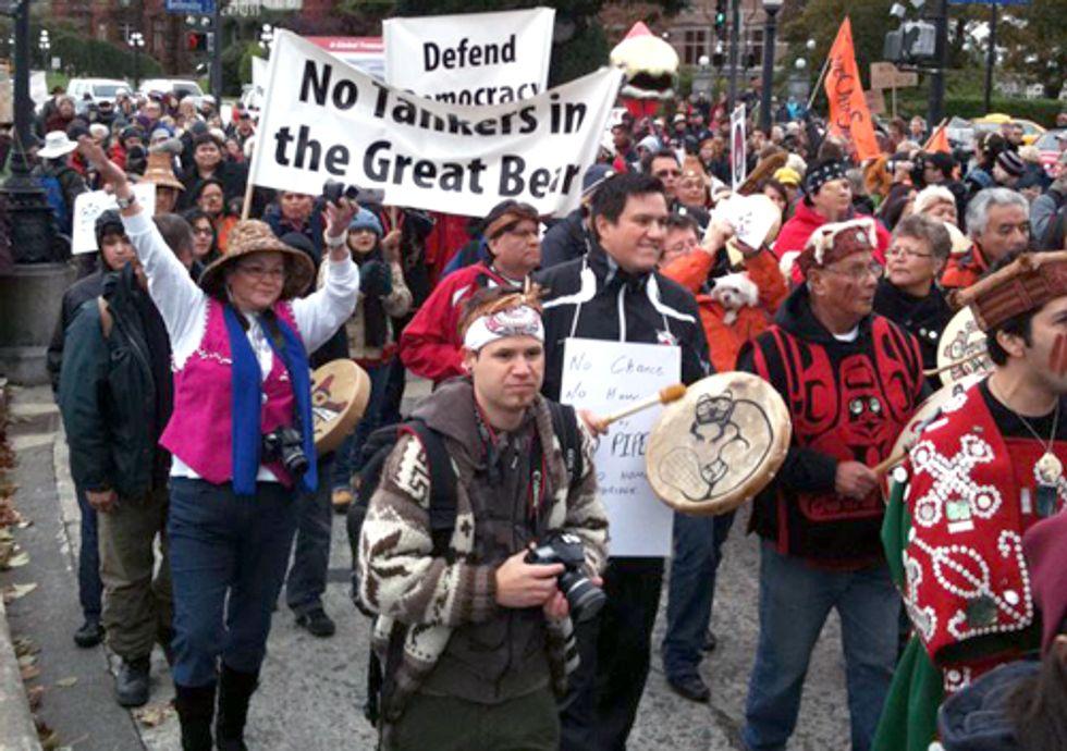 Huge Protest Underway Against Canadian Tar Sands Pipelines