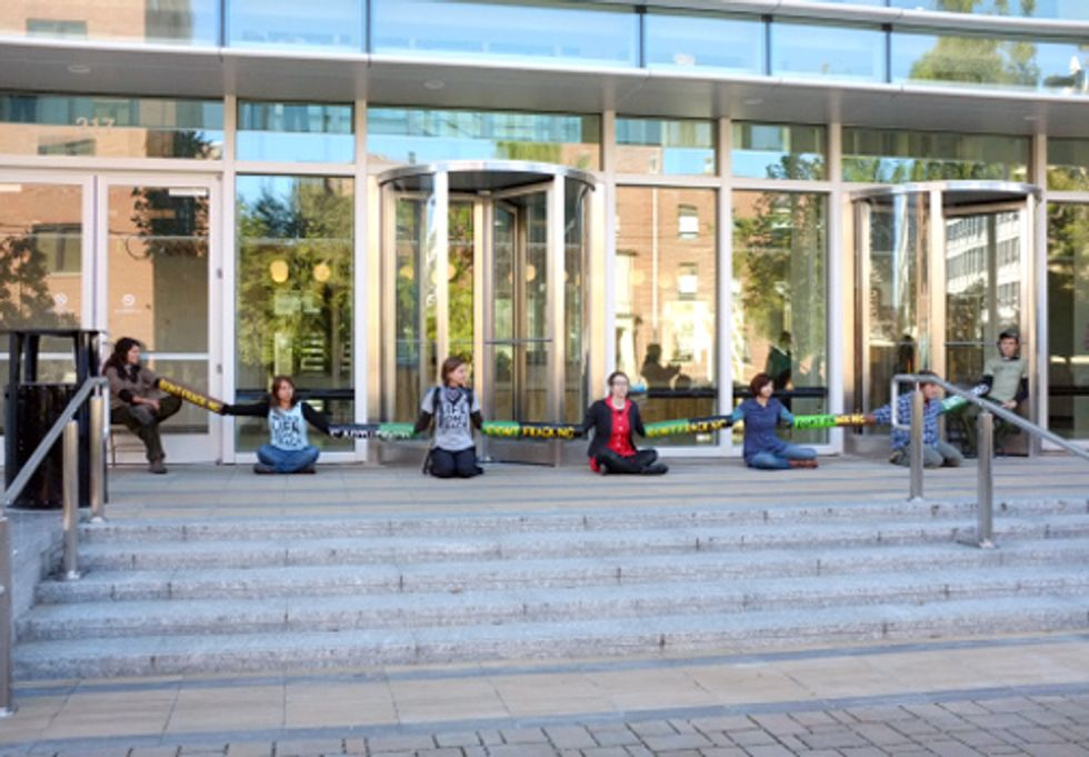 Earth First!ers Lock Down NC DENR Headquarters Protesting the State's Continued Path Toward Legalizing Fracking