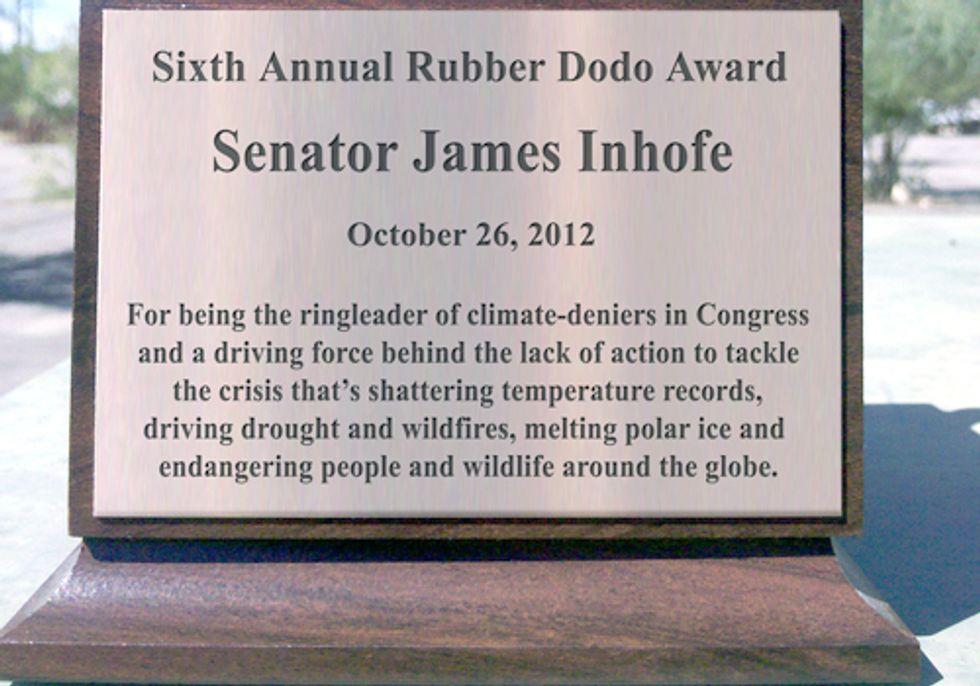 Climate-Change Denying Senator James Inhofe Wins 2012 Rubber Dodo Award