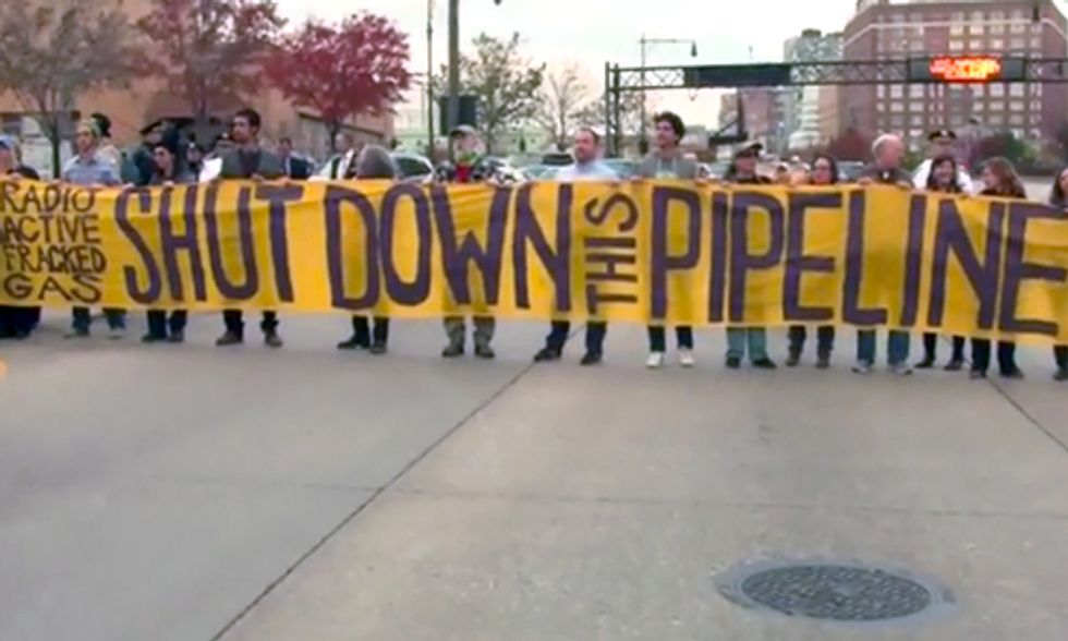 13 Arrested Blocking Highway at Site of Spectra Energy Pipeline