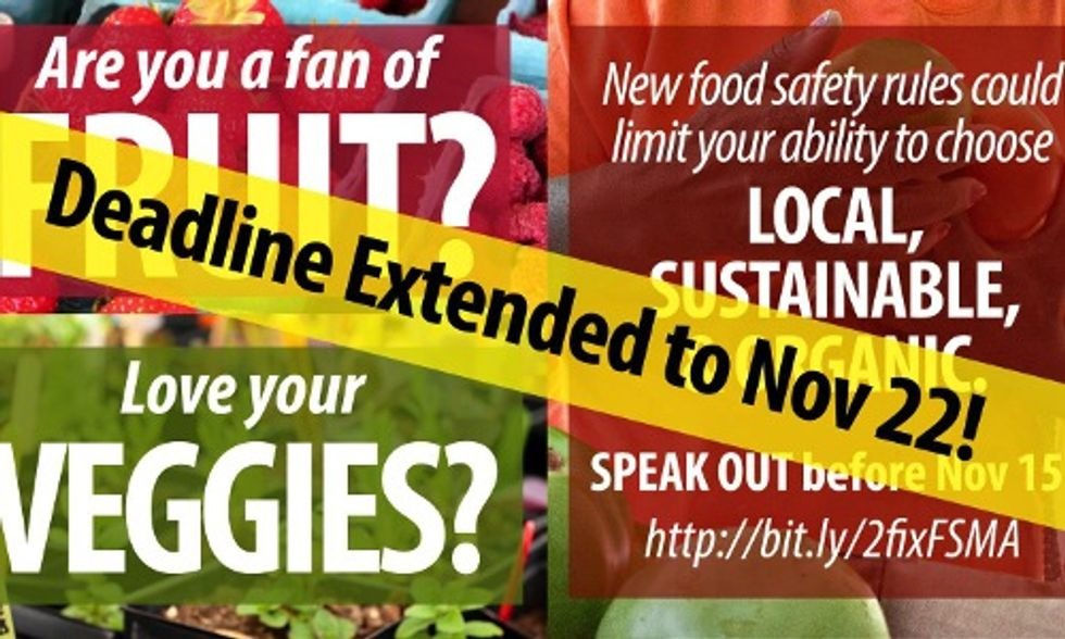 Comment Period Extended for Food Safety Rules, Show Support for Local, Organic Foods