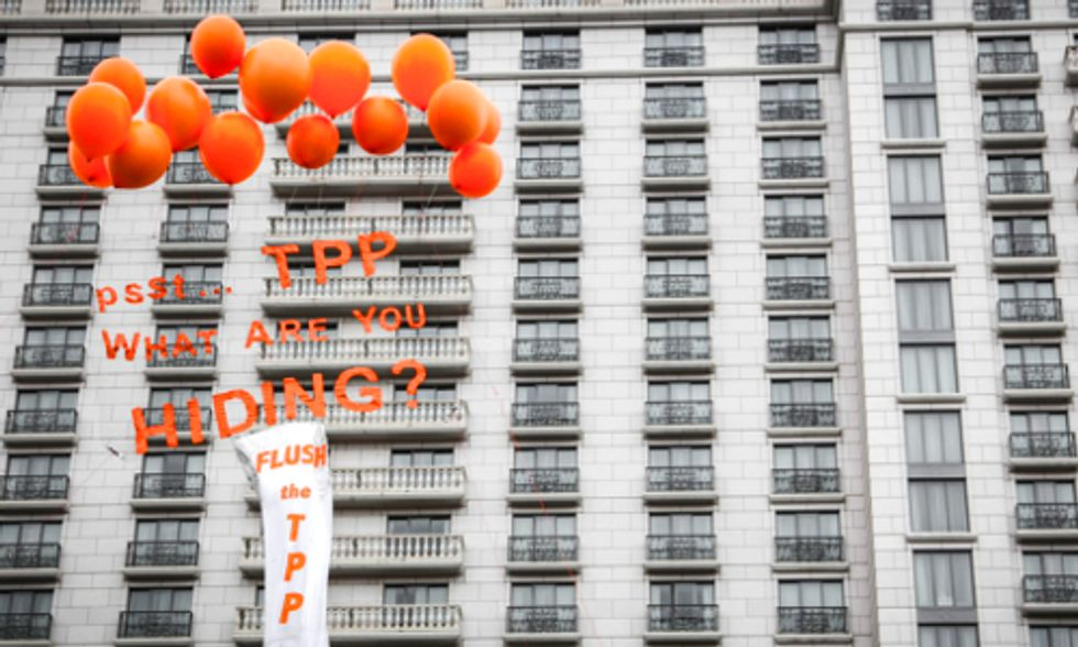 Protestors Shine Light on Trans-Pacific Partnership's Secret Corporate Coup