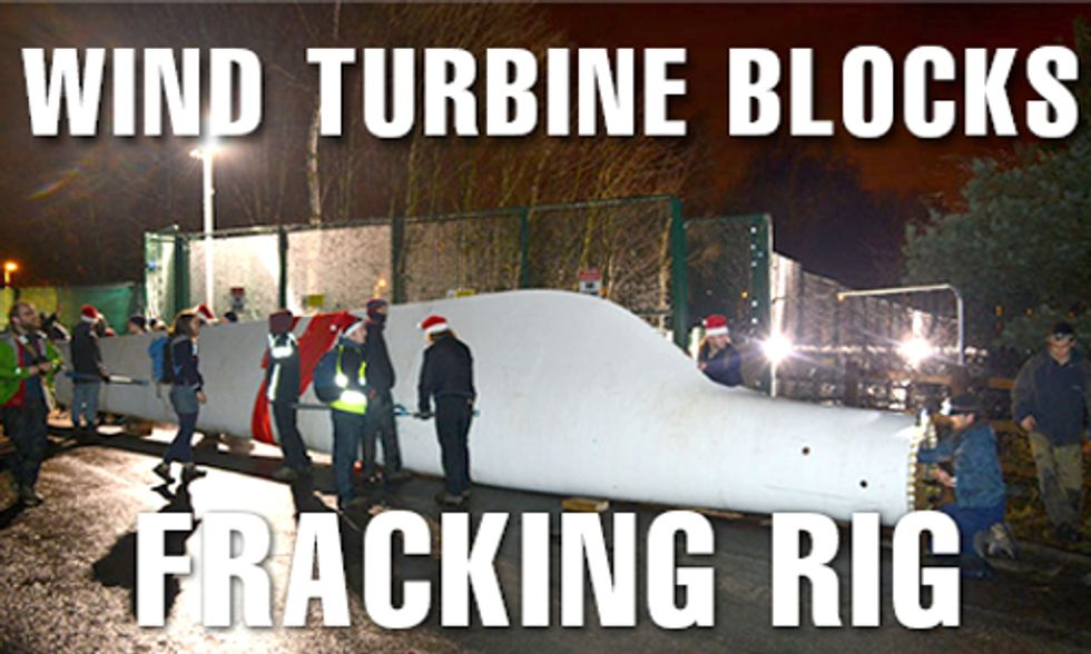 Protestors Block Fracking Site With Giant Wind Turbine Blade