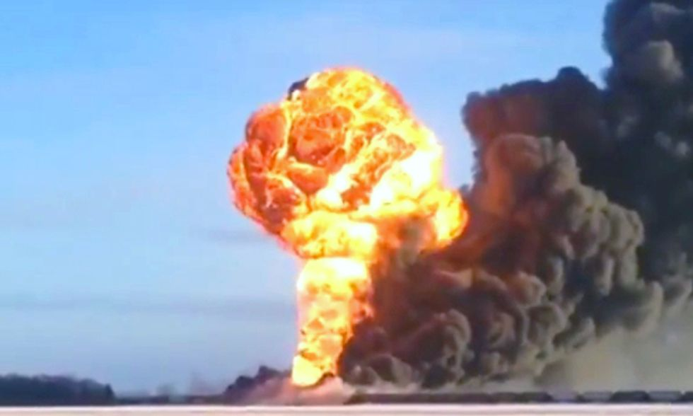 Fiery Oil Train Crash in Raging Shale Oil Boom State of North Dakota