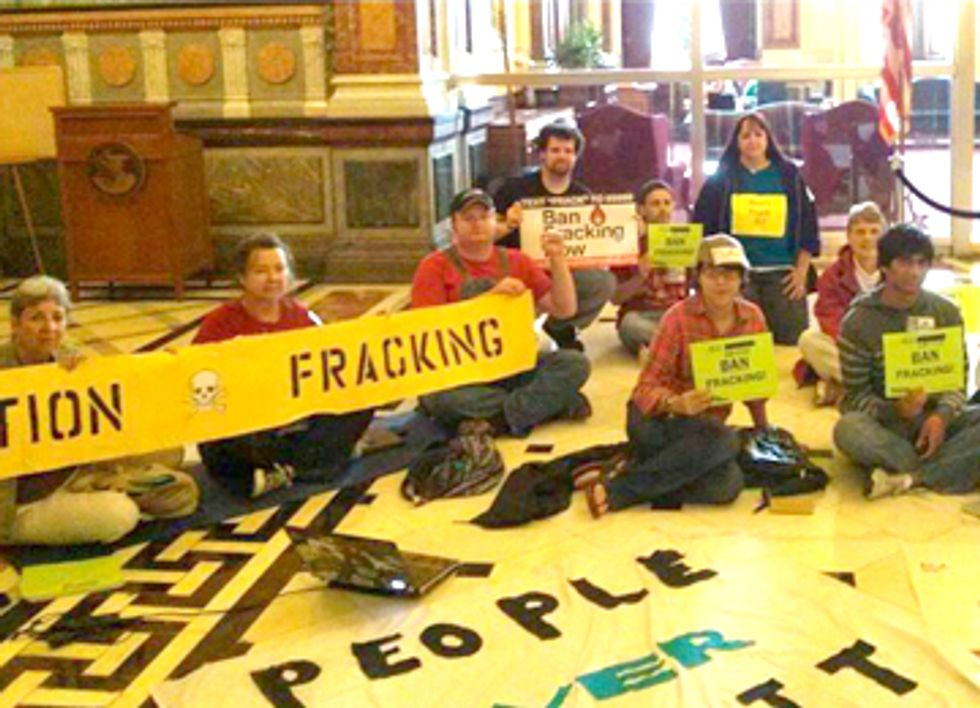 Sit In Continues Demanding a Moratorium on Fracking in Illinois
