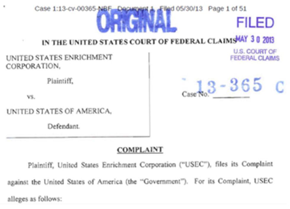 Stiffed USEC Sues Feds in Nuclear Slugfest