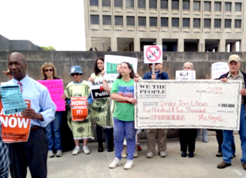 Residents Deliver Giant Check to 'Buy Back' NY Senator's Support from Fracking Interests
