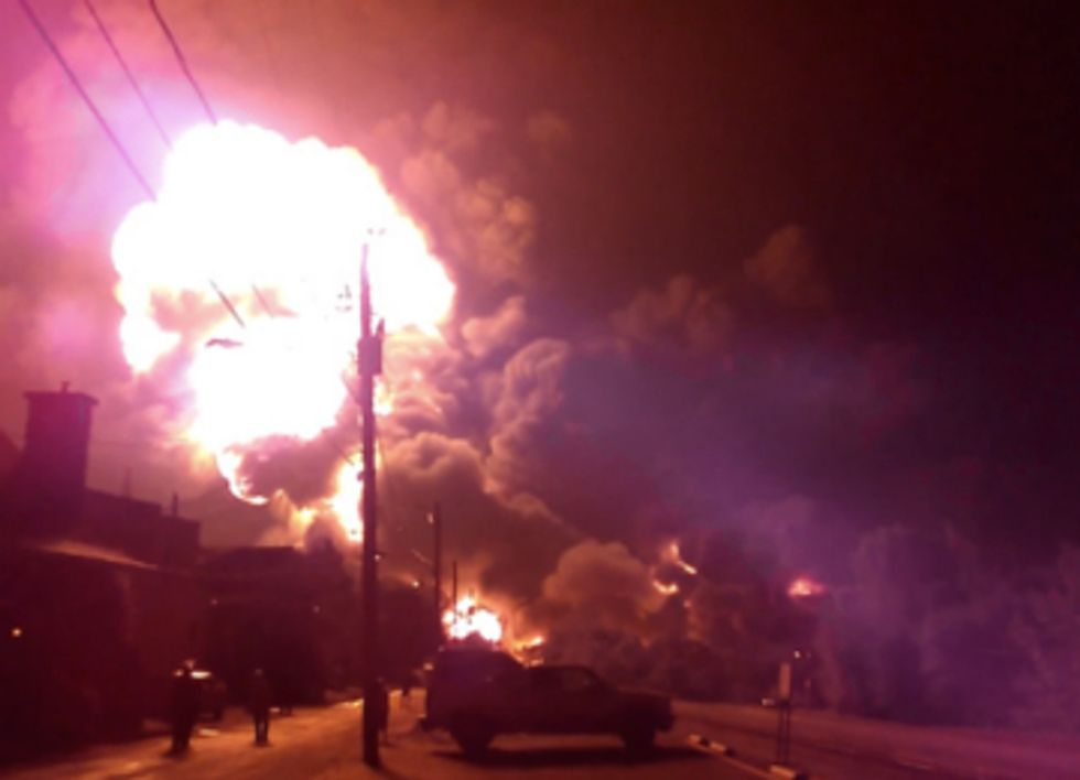 Crude Oil Train Explosion Incinerates Surrounding Neighborhoods