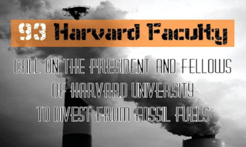 93 Members of Harvard Faculty Call on University to Divest From Fossil Fuels