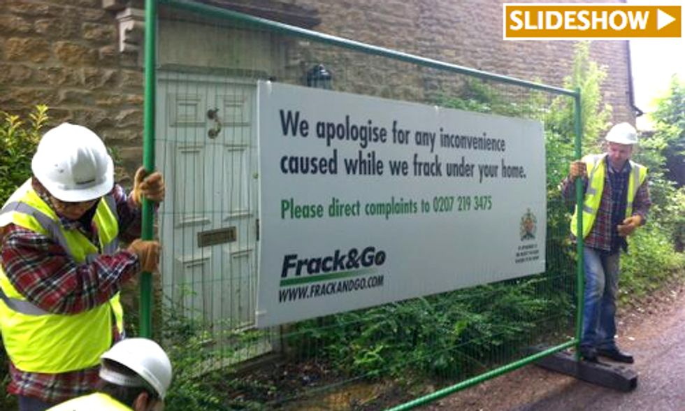 Watch Greenpeace 'Frack' UK Prime Minister's Home Before He Announces Pro-Drilling Policy