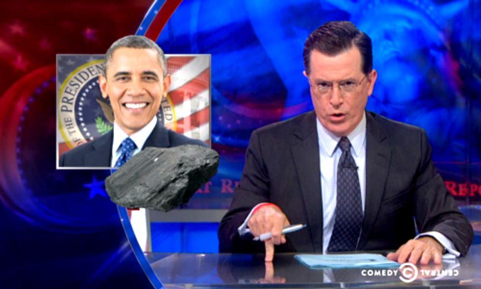 Colbert Mocks Media's Coverage of Obama's 'War on Coal'