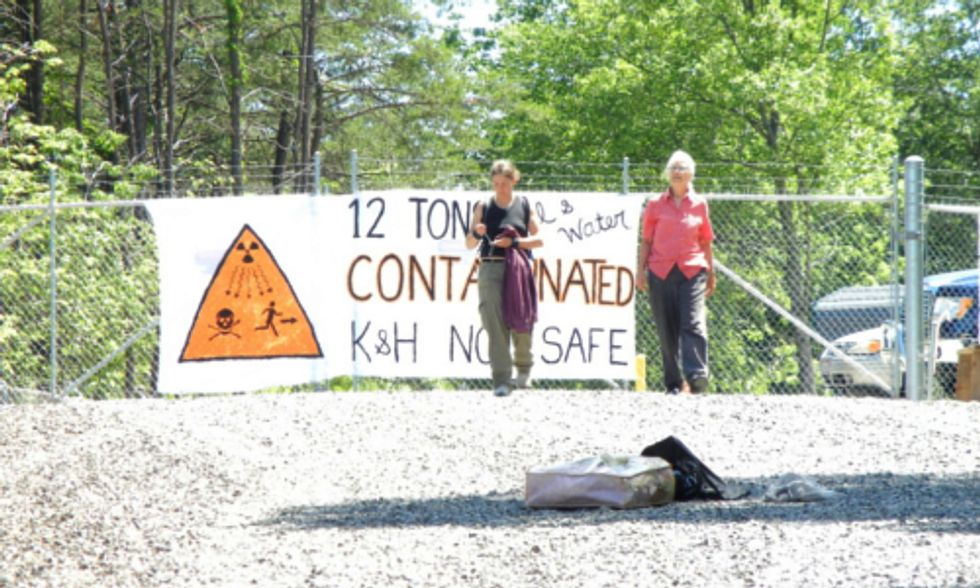 Two Women Block Gate to Fracking Wastewater Transfer Station