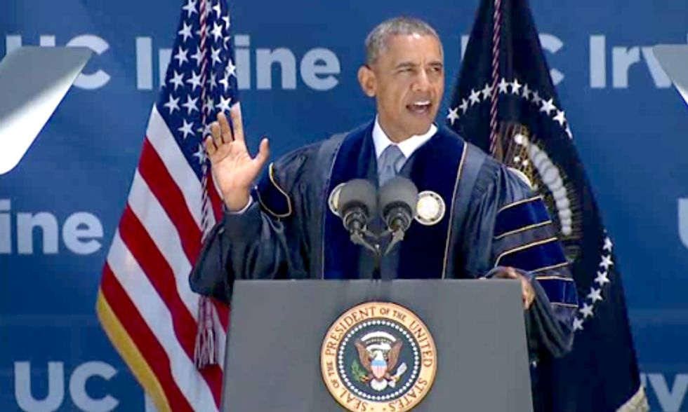 Watch Obama Address Climate Change and Mock Deniers in University of California Irvine Commencement Speech