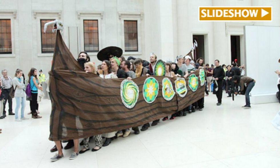 Viking Protestors Rally Against BP's Greenwashing at British Museum