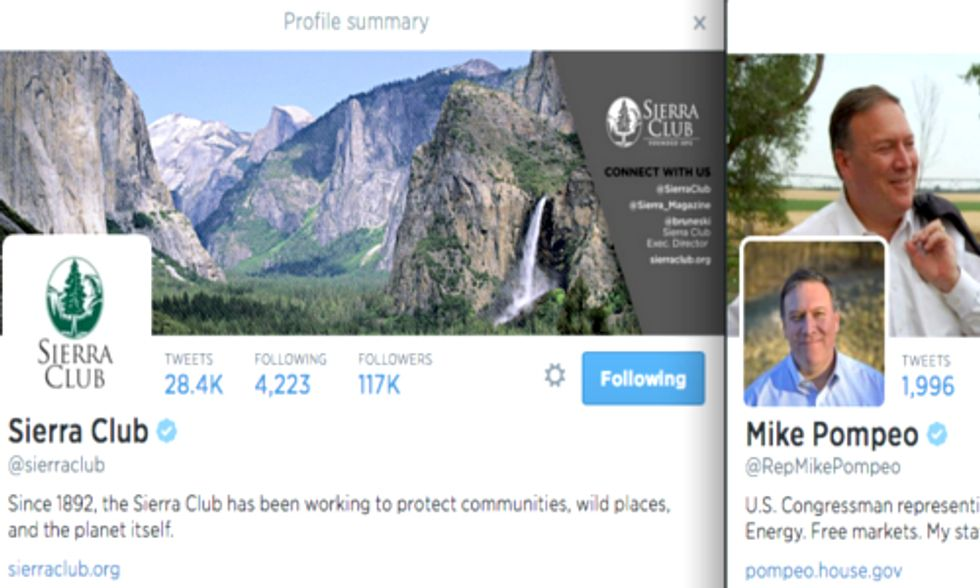 Sierra Club and U.S. Rep. Mike Pompeo Spar in Twitter Debate on Climate Change