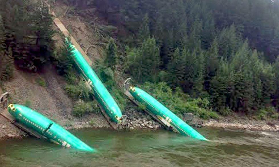 Train Derailment Spills Boeing 737 Fuselages Into River