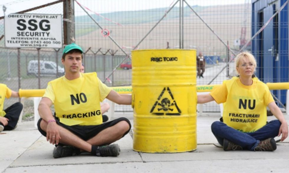 Activists Blockade Chevron Fracking Site in Eastern Romania