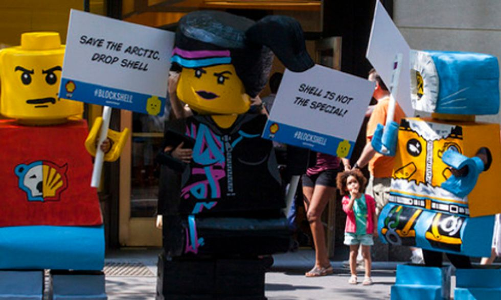 Life Size LEGO Figurines Descend on NYC to Save the Arctic