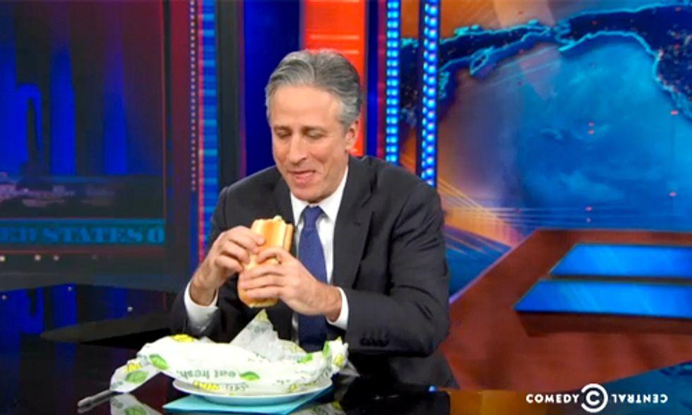 Watch Jon Stewart Take on Subway's Yoga-Mat Bread