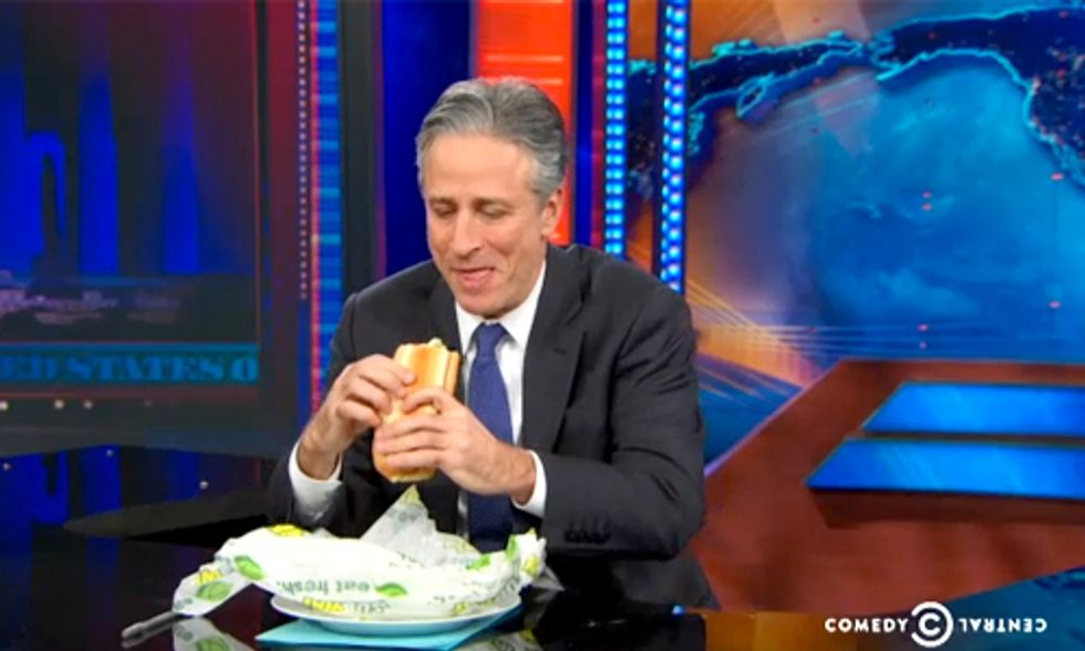 Watch Jon Stewart Take on Subway's Yoga-Mat Bread