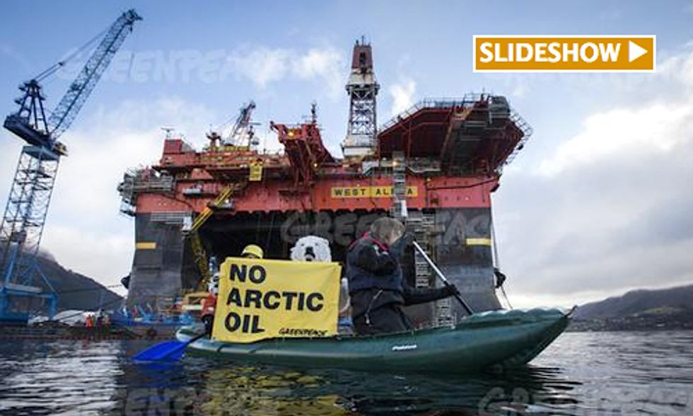Activists Scale ExxonMobil Rig on 25th Anniversary of Exxon Valdez Oil Spill