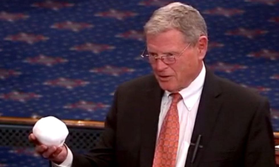 Watch Sen. Inhofe Throw a Snowball on Senate Floor to Prove Climate Change Is a 'Hoax'