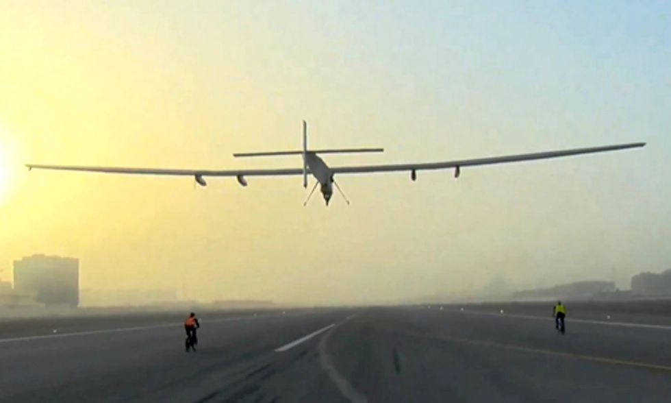 Solar-Powered Plane Takes Off for Historic Round-the-World Trip