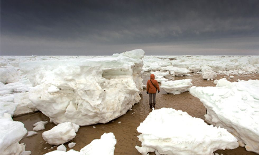 Remarkable Images Show Gigantic Ice Chunks Washed Up on the Shores of Cape Cod