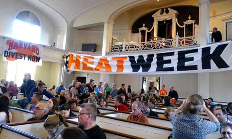 200 Protesters Block Building Entrance to Kick Off Harvard 'Heat Week' Demanding Divestment from Fossil Fuels
